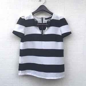 Zara striped puff sleeve top